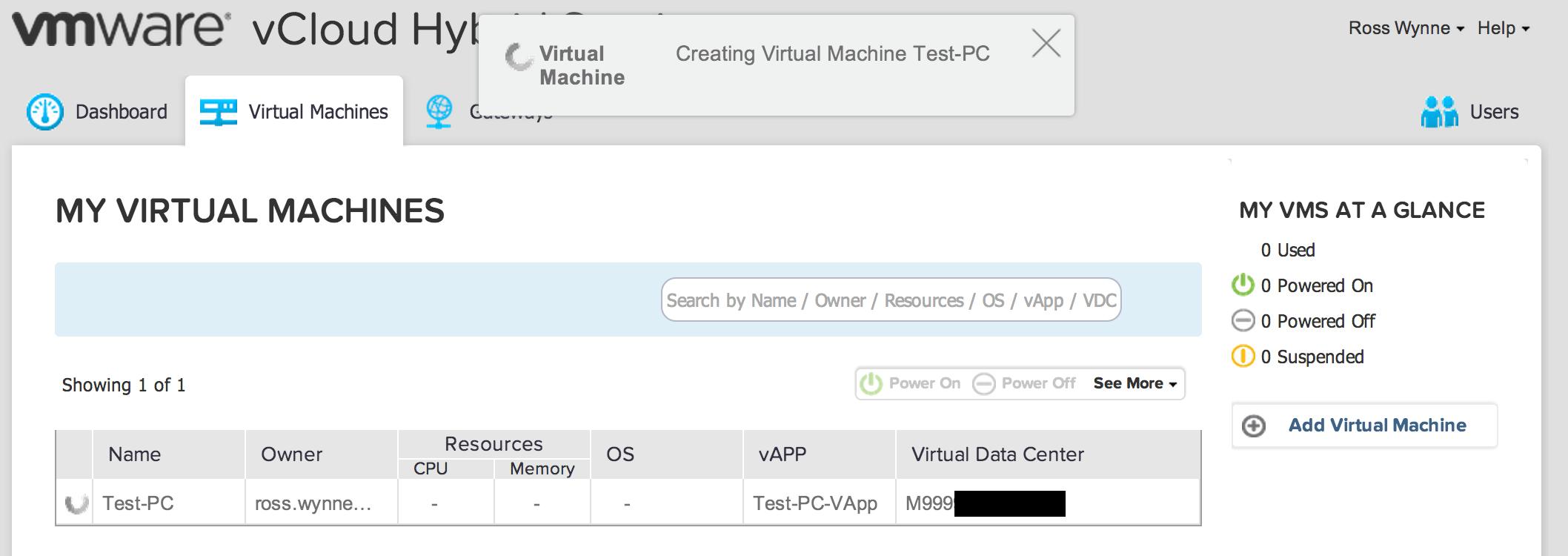 VCHS vApp Build